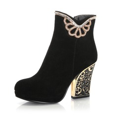 Real Leather Chunky Heel Ankle Boots With Rhinestone shoes