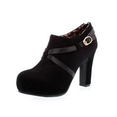 Suede Chunky Heel Ankle Boots With Buckle Zipper shoes