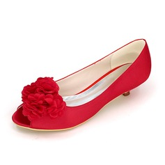 Women's Satin Kitten Heel Closed Toe Pumps With Flower