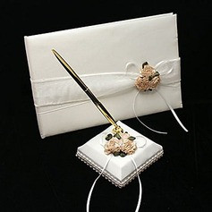 Flowers Design Satin/Organza Petals Guestbook/Pen Set