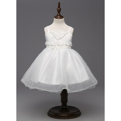 A-Line/Princess Knee-length Flower Girl Dress - Organza/Tulle/Polyester Straps With Flower(s)
