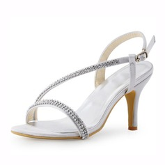 Women's Satin Stiletto Heel Sandals Slingbacks With Rhinestone