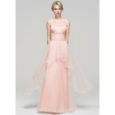 A-Line/Princess Scoop Neck Floor-Length Tulle Evening Dress With Cascading Ruffles