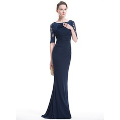 Trumpet/Mermaid Scoop Neck Sweep Train Jersey Evening Dress With Ruffle Lace Beading Sequins