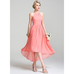 A-Line/Princess Scoop Neck Asymmetrical Chiffon Bridesmaid Dress With Ruffle