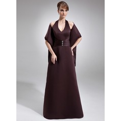 Sheath/Column Halter Floor-Length Satin Bridesmaid Dress With Ruffle Beading