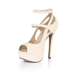 Patent Leather Stiletto Heel Peep Toe Platform Sandals With Buckle