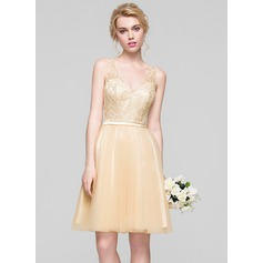 A-Line/Princess V-neck Knee-Length Tulle Bridesmaid Dress With Ruffle Beading Sequins