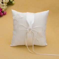Butterfly Design Ring Pillow in Satin With Ribbons Bow
