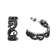 Vintage Czech Stones Silver Plated Tin Alloy Ladies' Fashion Earrings