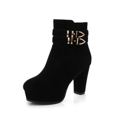 Women's Suede Chunky Heel Platform Ankle Boots With Buckle shoes