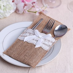 Lovely Linen Cutlery Bag With Ribbons (Set of 6)