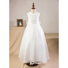 Ball Gown Ankle-length Flower Girl Dress - Satin/Tulle/Lace Sleeveless Scoop Neck With Bow(s)