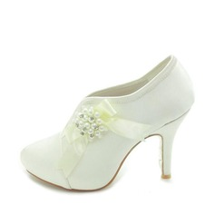 Satin Stiletto Heel Closed Toe Platform Pumps Boots Wedding Shoes With Beading Bowknot Imitation Pearl (047018124)