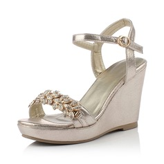 Leatherette Wedge Heel Sandals Wedges Peep Toe With Rhinestone shoes
