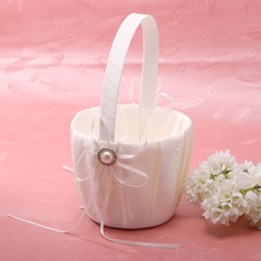 Flower Basket Ivory With Bow Ribbons Faux Pearl (102026350)