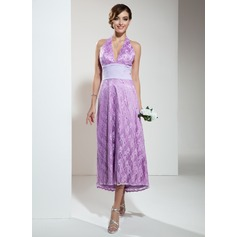 A-Line/Princess Halter Asymmetrical Lace Bridesmaid Dress With Ruffle Beading