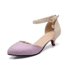 Leatherette Low Heel Pumps Closed Toe With Buckle shoes