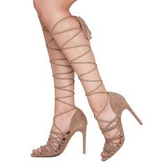 Women's Suede Stiletto Heel Pumps With Hollow-out shoes