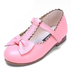 Girl's Real Leather Flat Heel Closed Toe Flats With Bowknot Velcro