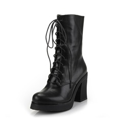 Real Leather Chunky Heel Platform Mid-Calf Boots With Lace-up shoes