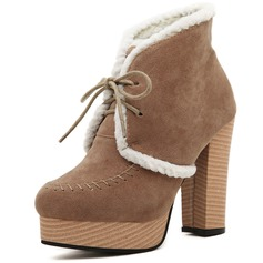 Suede Chunky Heel Pumps Platform Closed Toe Boots Ankle Boots With Lace-up shoes
