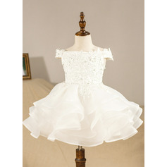 Ball Gown Knee-length Flower Girl Dress - Organza Short Sleeves Off-the-Shoulder With Ruffles/Appliques