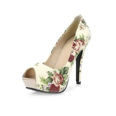 Women's Cloth Stiletto Heel Pumps Platform Peep Toe With Flower shoes
