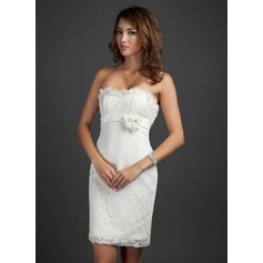 Sheath/Column Strapless Short/Mini Lace Cocktail Dress With Beading Flower(s) Cascading Ruffles