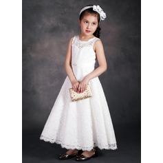 A-Line/Princess Ankle-length Flower Girl Dress - Lace/Tribute silk Sleeveless Scoop Neck