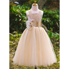 A-Line/Princess Satin/Tulle/Lace With Flower(s)/Bow(s) (010071495)