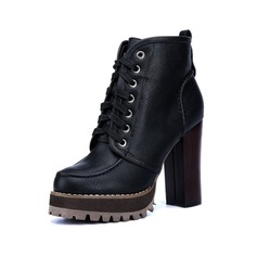 Women's Leatherette Chunky Heel Ankle Boots Martin Boots With Braided Strap Split Joint shoes