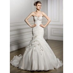 Trumpet/Mermaid Sweetheart Court Train Organza Wedding Dress With Ruffle Beading Flower(s) Sequins
