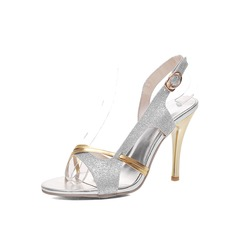 Women's Leatherette Sparkling Glitter Stiletto Heel Peep Toe Sandals With Buckle