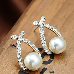 Beautiful Alloy Rhinestones With Imitation Pearl Ladies' Fashion Earrings
