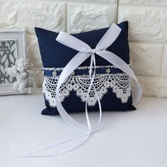 Simple Ring Pillow in Satin With Ribbons/Bow