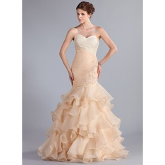 Trumpet/Mermaid Sweetheart Floor-Length Organza Prom Dress With Beading Appliques Lace Cascading Ruffles