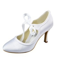 Women's Satin Stiletto Heel Closed Toe Pumps With Ribbon Tie