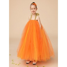 A-Line/Princess Ankle-length Flower Girl Dress - Tulle Sleeveless Halter With Bow(s)