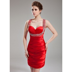 Sheath/Column Sweetheart Short/Mini Charmeuse Homecoming Dress With Ruffle Beading Sequins
