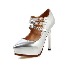Patent Leather Stiletto Heel Pumps Platform Closed Toe With Buckle shoes