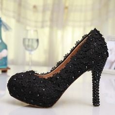 Women's Lace Stiletto Heel Closed Toe Pumps With Rhinestone