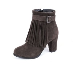 Women's Suede Chunky Heel Ankle Boots With Buckle Tassel shoes
