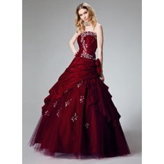 Ball-Gown Strapless Floor-Length Taffeta Quinceanera Dress With Ruffle Beading Appliques Lace Flower(s) Sequins (021002909)