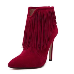 Women's Suede Stiletto Heel Boots Ankle Boots With Tassel shoes