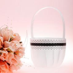 Elegant Flower Basket in Satin