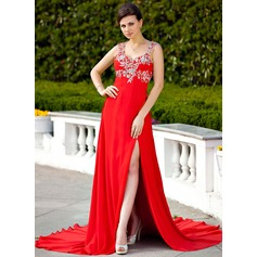 A-Line/Princess Sweetheart Court Train Chiffon Evening Dress With Beading Appliques Lace Split Front