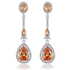 Stylish Zircon/Platinum Plated Ladies' Earrings