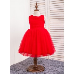 Ball Gown Knee-length Flower Girl Dress - Polyester/Cotton/Chinlon Sleeveless Scoop Neck With Bow(s)