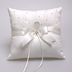 Lovely Ring Pillow in Satin With Ribbons/Faux Pearl